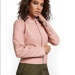 New York&Co. Pink Faux Leather Jacket L